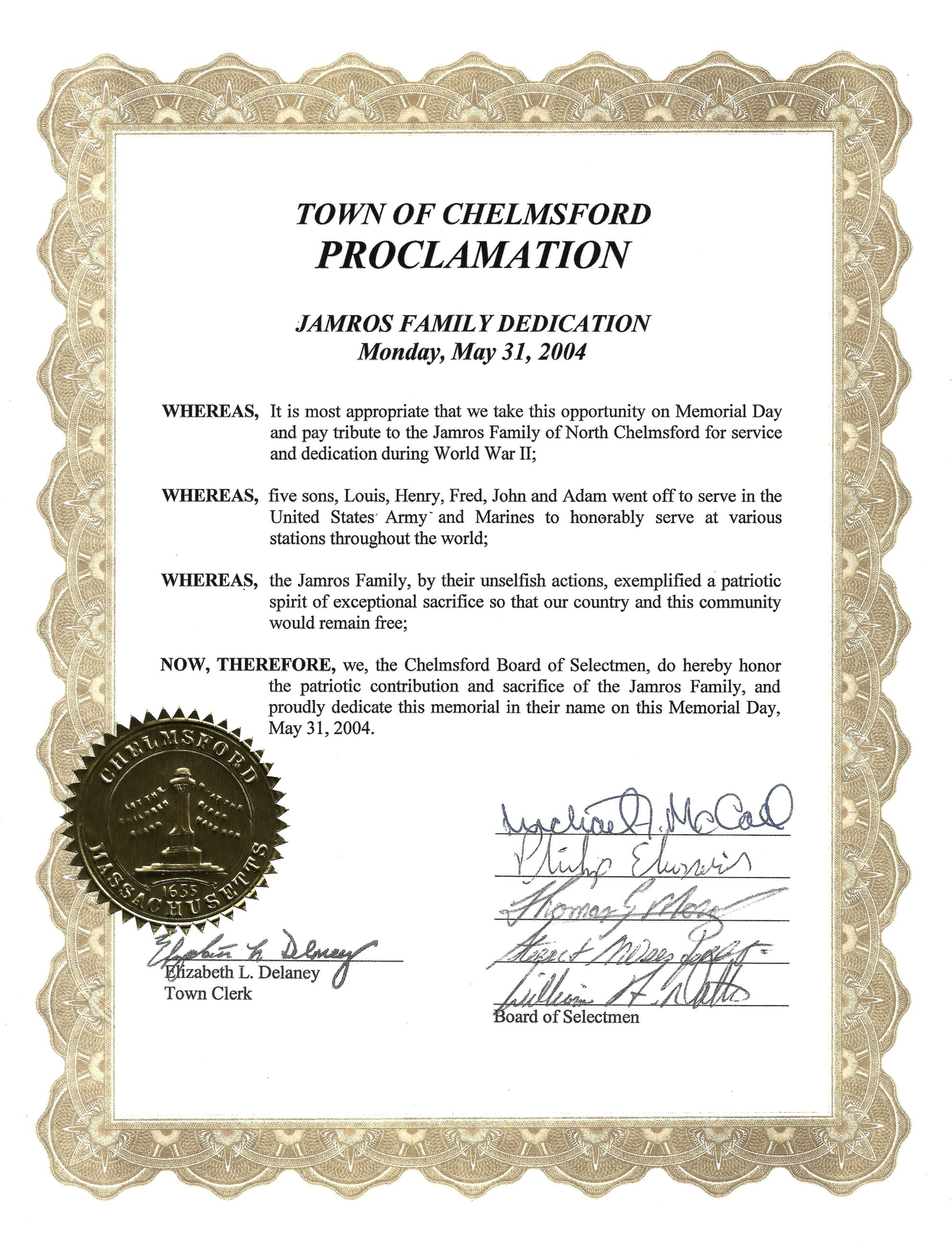 Jamros Proclamation With Town Seal