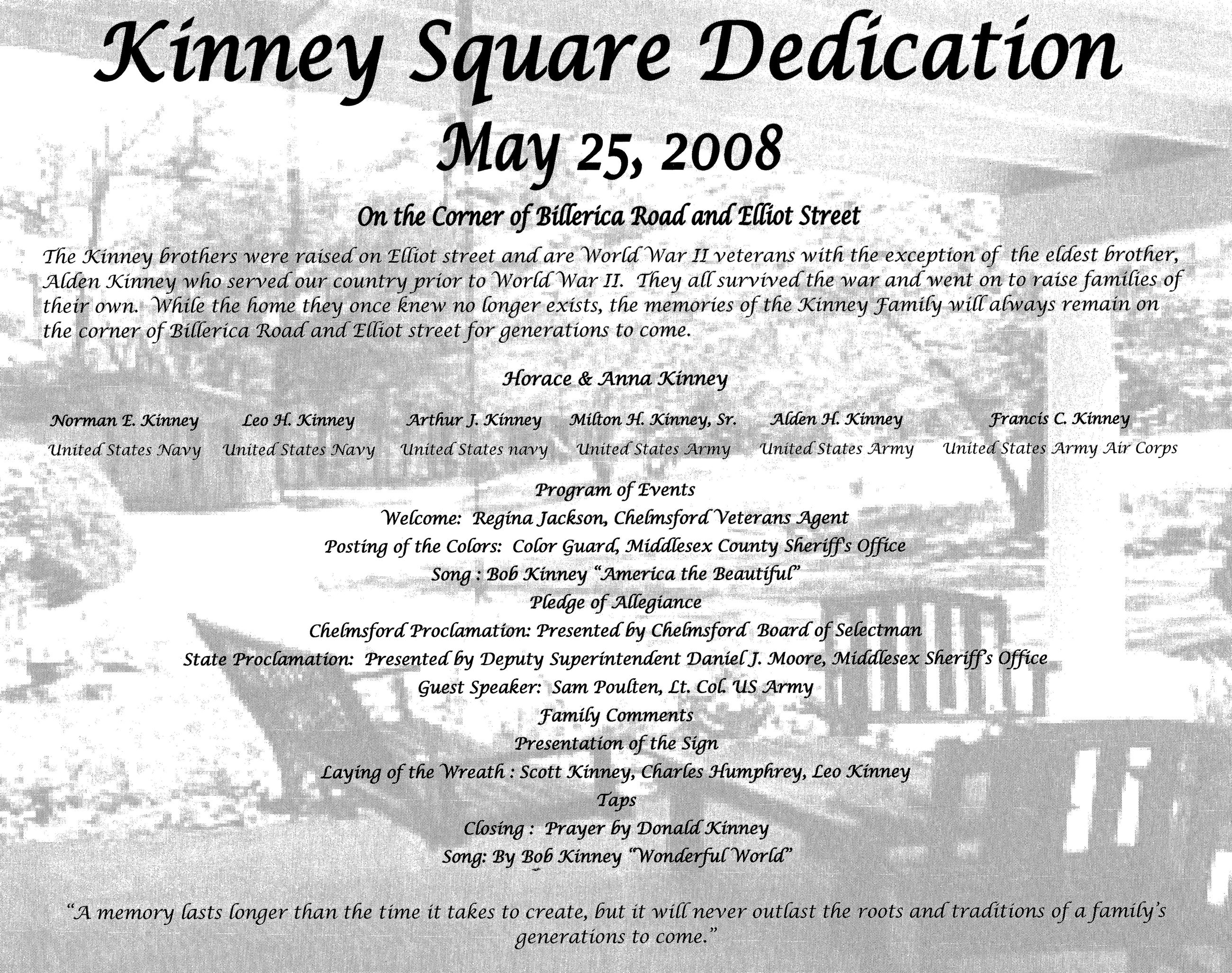 Kinney Square Dedication Program